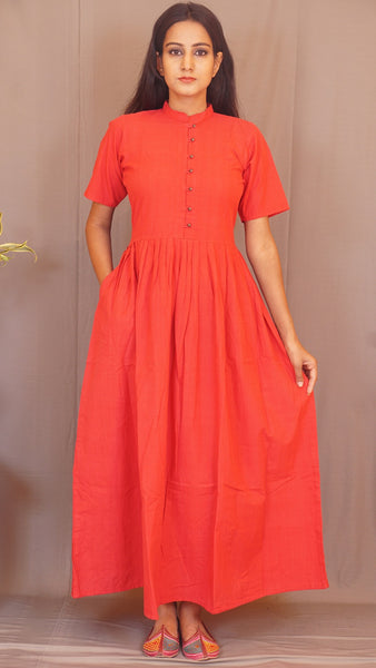 Red handwoven cotton pleated  long dress