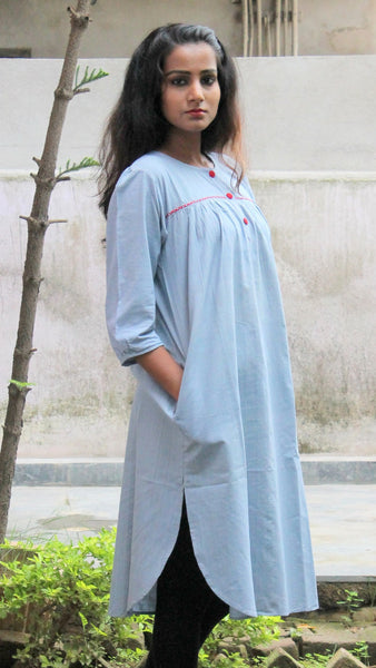 Grey handwoven cotton tunic