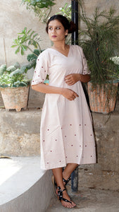 Embroidered Hazelnut Aline dress online at bebaakstudio