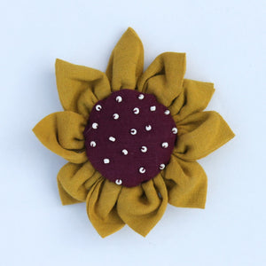 Upcycled Sunflower brooch online available at bebaakstudio.com
