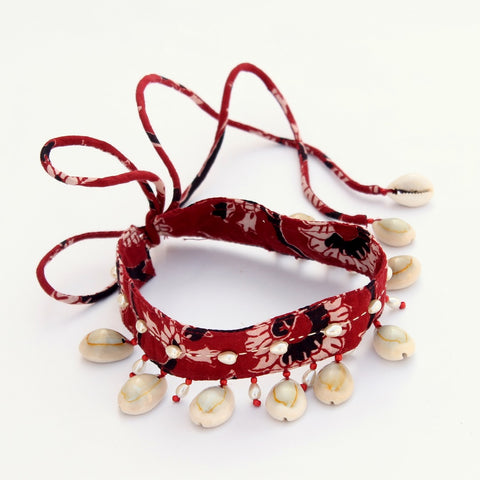 Textile jewelry: Shop Red shell choker online at bebaakstudio.com