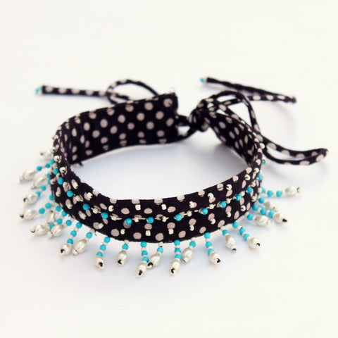 Textile jewelry: Shop Black polka pearl choker online at bebaakstudio.com