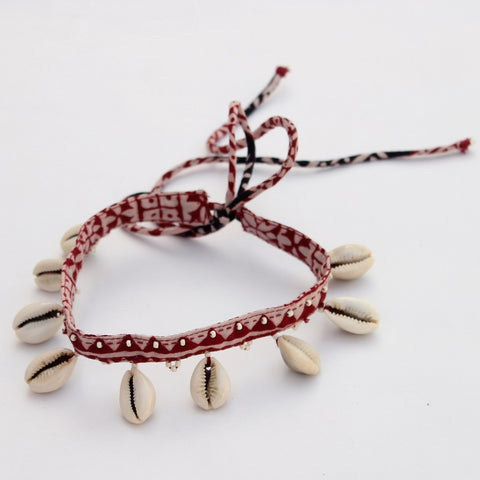 Textile jewelry: Shop Red triangle choker online at bebaakstudio.com