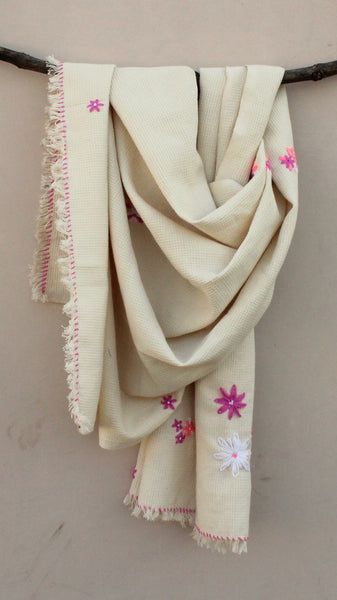 Kora thick cotton embroidered stole online available at bebaakstudio.com