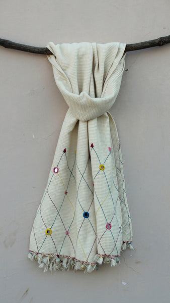 Kora thick cotton mirror stole online at bebaakstudio.com