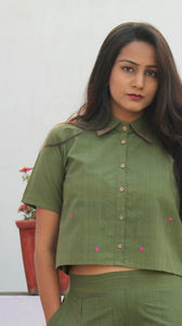 Olive green embroidered crop shirt