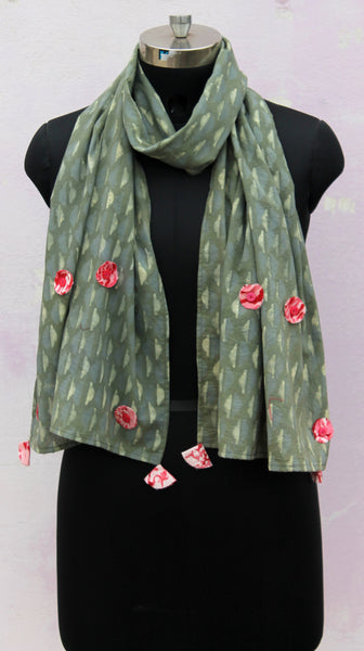 earthy green patch stole