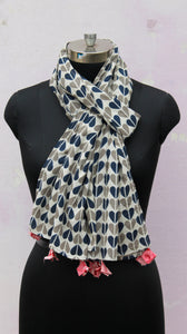 Blue heart block print stole