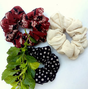 Shop floral natural dye scrunchies online at bebaakstudio.com