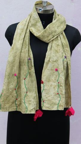 Earthy green embroidered stole
