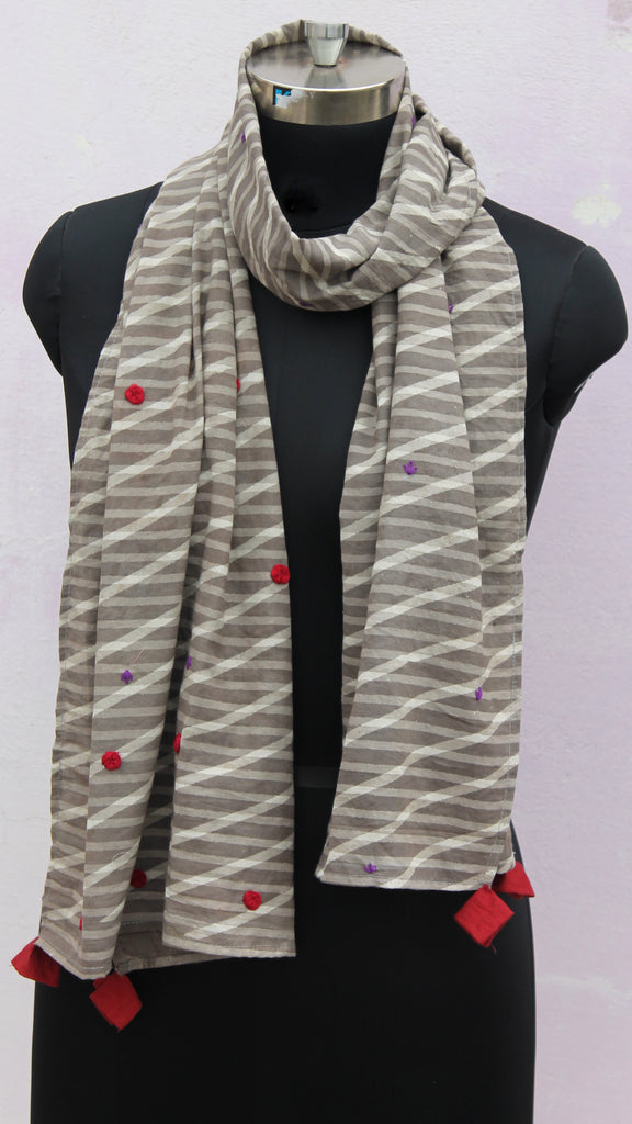 Grey stripes embroidered stole