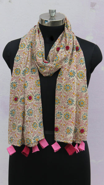 Ivory floral block print stole