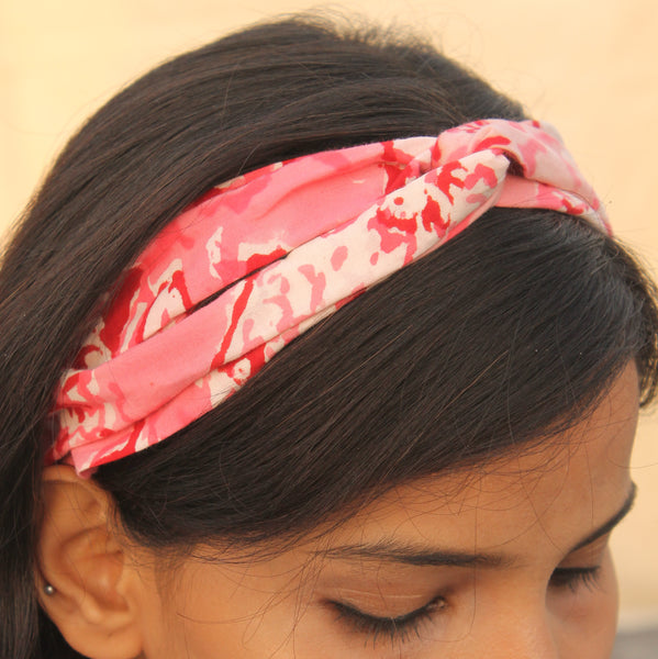 Pink block printed headband online at bebaakstudio.com