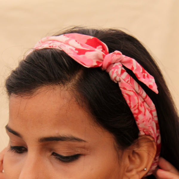 Pink block print knotted bow headband