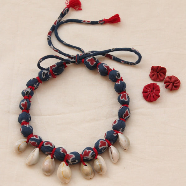 Ajrakh shell necklace