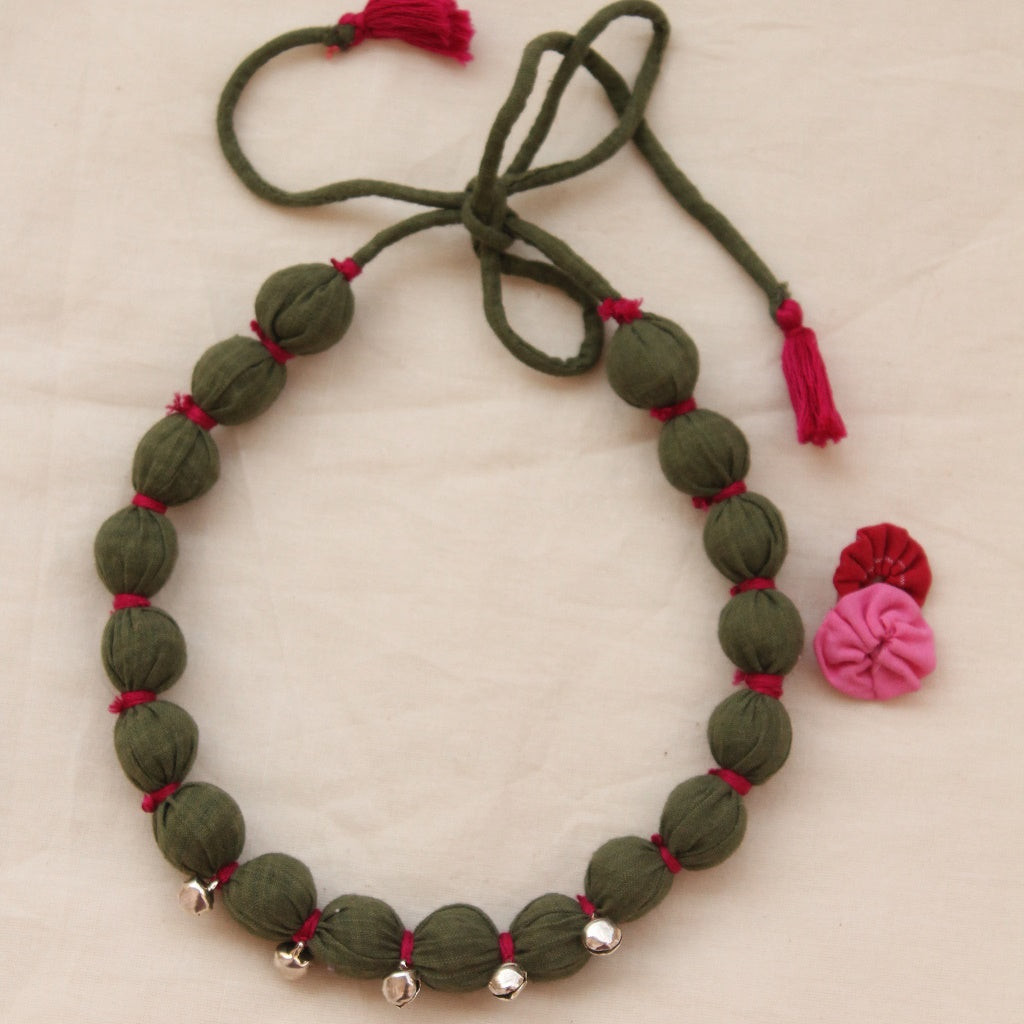 Green ghunghroo necklace