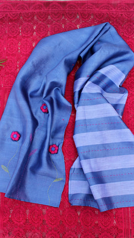 Blue flora hand embroidered silk stole