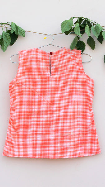 Tangerine pleated gamchha top