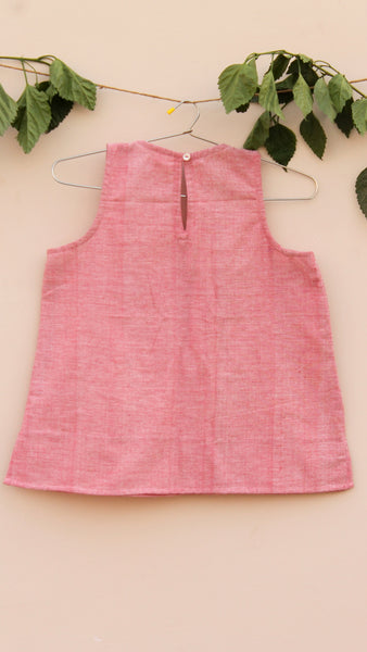 Pink solid Aline gamchha top