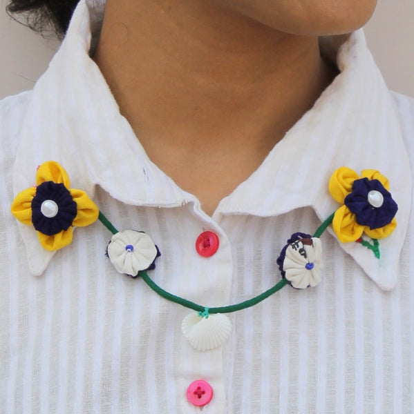Blue yellow floral collar chain