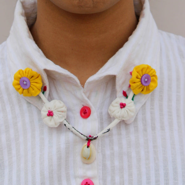 Yellow white floral collar chain