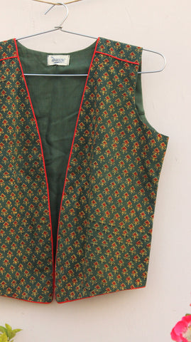 Emerald green ajrakh jacket