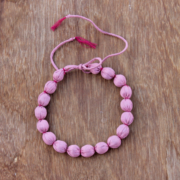 Pink textile bead dhara necklace