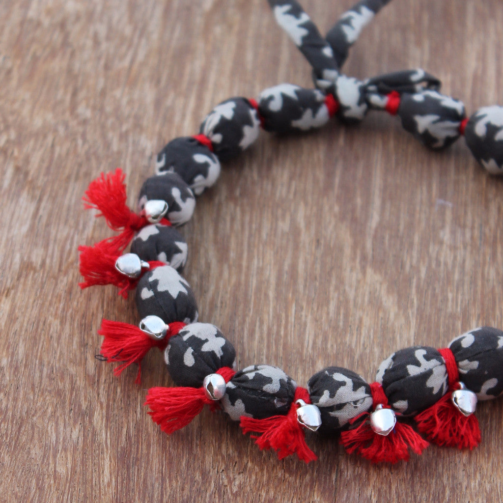 Red tasselled grey textile dhara necklace