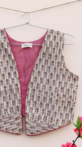 Earthy grey floral block print cotton jacket