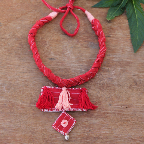 Red boho necklace online at bebaakstudio.com