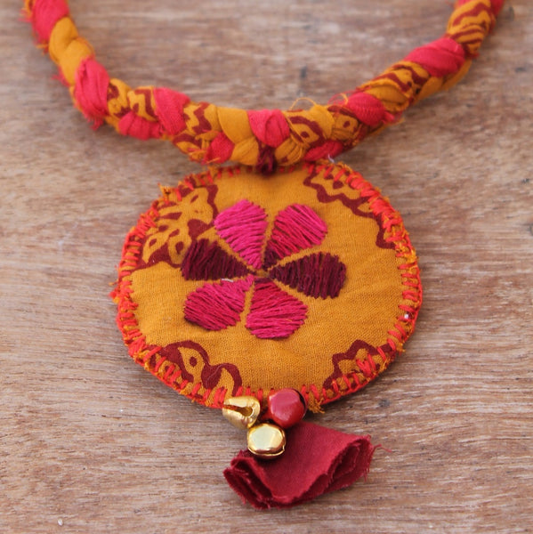 Yellow bagh boho necklace online at bebaakstudio.com
