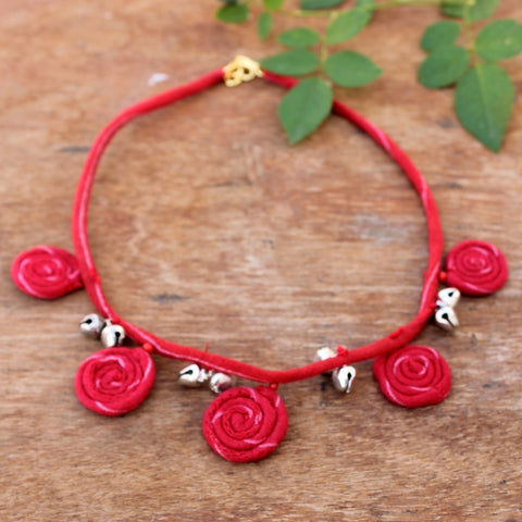 Red flora necklace