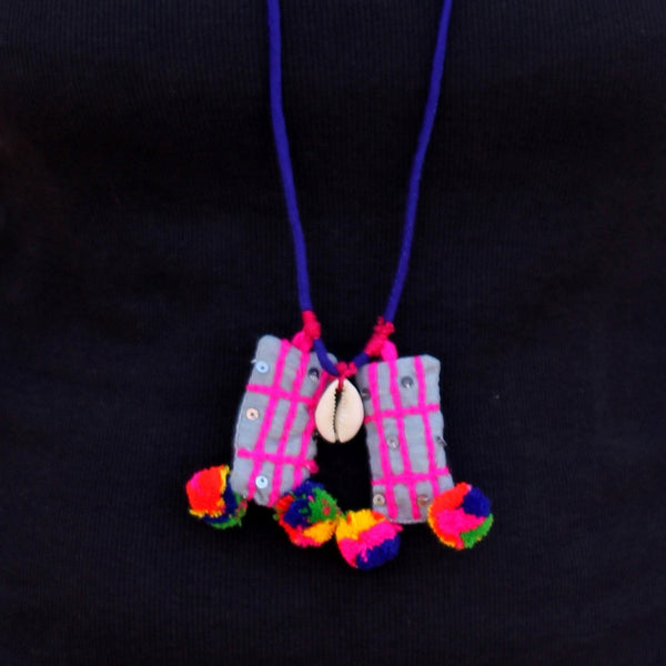Rainbow Shell up-cycled textile pendant necklace