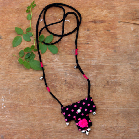 Black polka long necklace online at bebaakstudio.com