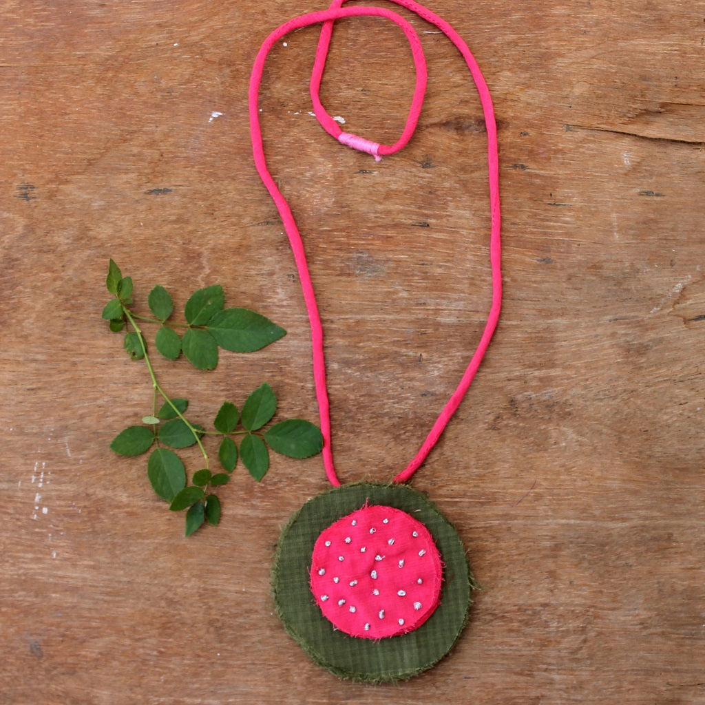 Olive & pink long necklace online at bebaakstudio.com