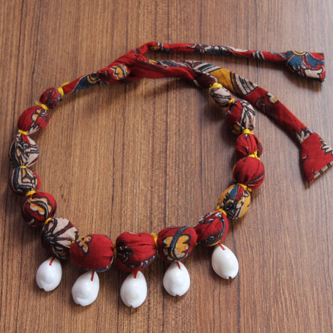 Necklace: kalamkari textile necklace
