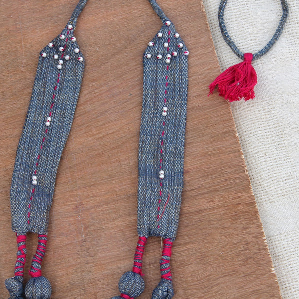 Grey beads layered Necklace
