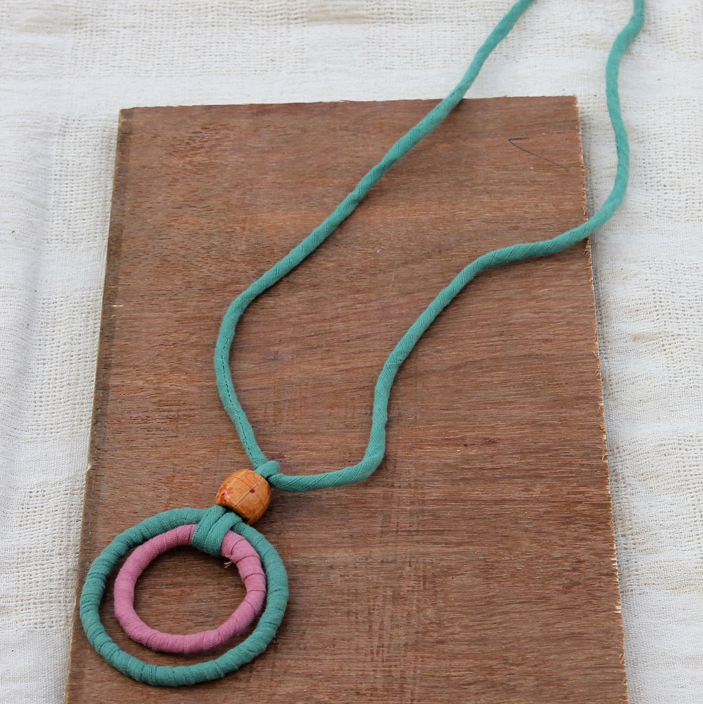 Green hoop pendant necklace