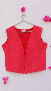Red hand embroidered cotton wing jacket