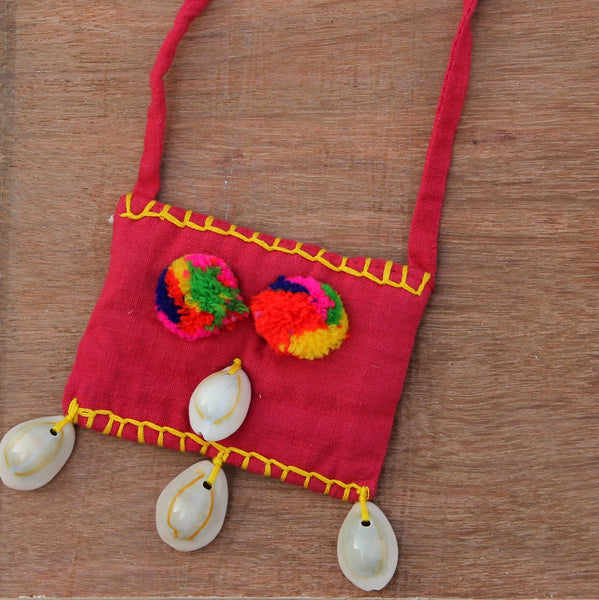 Red yellow boho textile pendant necklace