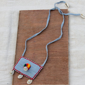 Grey boho textile pendant necklace