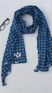 Blue gingham stole