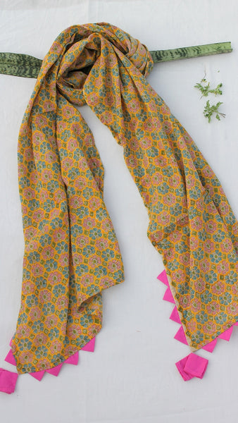 Yellow floral block print stole