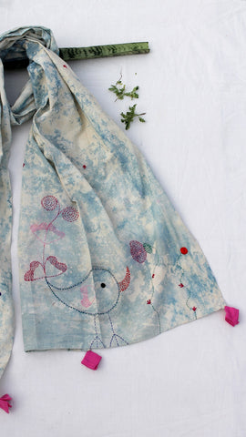 sky blue embroidered stole