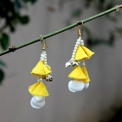 Yellow jhanjhar earring