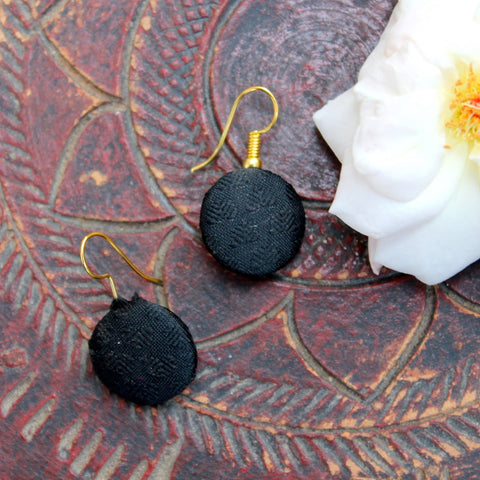 Black fabric ear stud