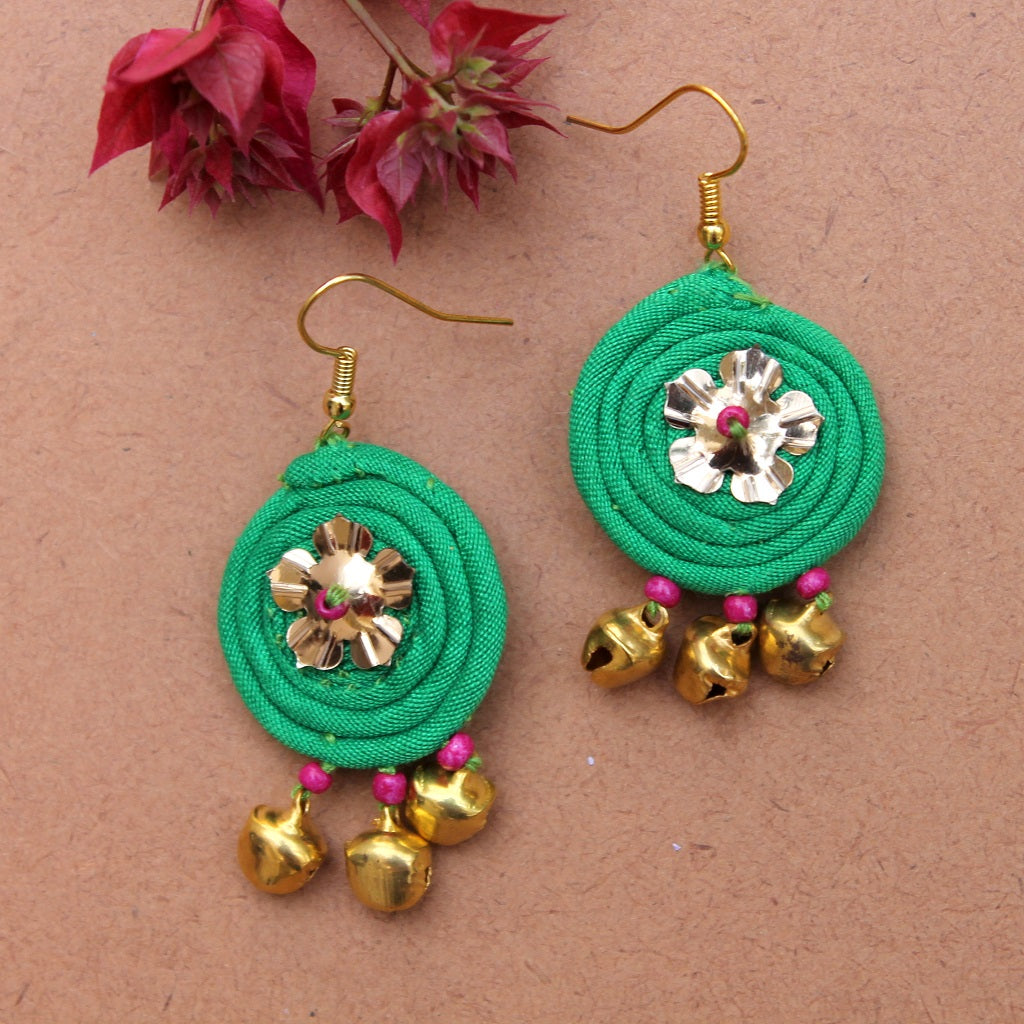 Green boho earring