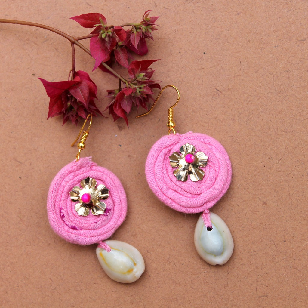 Pink drop earring