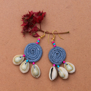 Grey boho earring