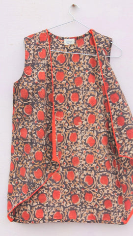 Rust blockprinted cotton shrug